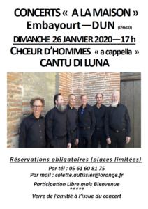 Concert à la maison à Embayourt (09) – 26 janvier 2020